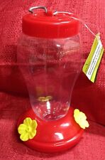 "Red Plastic Hummingbird Feeder Nectar Flower 16 Oz ~ Size ~ 4.25""x4.25""x7"" New"