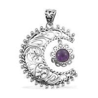 925 Sterling Silver Handmade Amethyst Sun Moon Pendant for Women Gift Jewelry