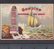 Lighthouse Enlightening the World 1800s Ship Soapine Soap Advertising Trade Card