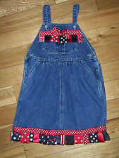 Custom Girls Sz. 5 Ribbon Trim Osh Kosh Denim Overall Jumper Customized
