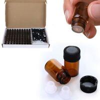 100 Pcs 1mL2mL3ml Amber Glass Essential Oil Bottle with Orifice Reducer cap