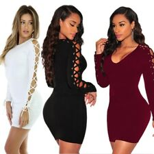 Women Fashion Long Sleeve Lace Up V Neck Bodycon Cocktail Mini Dress Sexy