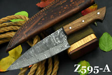 Custom Hammered Damascus Steel Chef Knife Handmade With Walnut Handle (Z595-A)