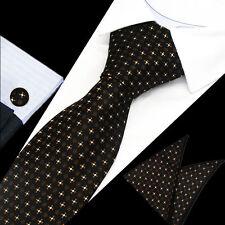 Mens Classic Black Brown Floral Silk Tie Handkerchief Hanky Cufflinks GIFT SET