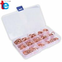 Solid Copper Crush Washers Seal Sealing Flat O-Ring Gaskets Assorted 280Pcs/Kit