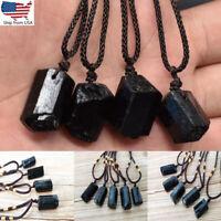 10/20Pcs Natural Black Tourmaline Necklace Crystal Schorl Pendant Healing Stone