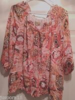 Notations Womens Pink Yellow Black White Floral Design Shirt Top Blouse Size 1X