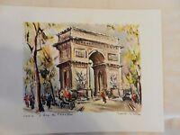 Paris L'Arc de Triomphe Lithograph Print by Marius Girard
