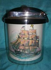 INTERESTING VINTAGE ICE BUCKET W/ TWO SHIPS ICE TONGS INCLUDED MADE IN USA