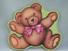 Mouse Pad Teddy Bear Brown Green Pink Bow
