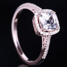 Solid 10k Rose Gold Pink Morganite Natural Diamond Cushion Halo Wedding Ring