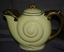 RARE HALL MADE IN USA 6-CUP SNAIL NAUTILUS 0659S PATTERN TEA POT GOLD SPECIAL EX