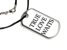 True Love Waits - Purity - Military Dog Tag Black Satin Cord Necklace