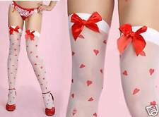 White Stockings with Hearts & Red Bows O/S