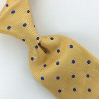 Charles Tyrwhitt Tie Yellow Blue Polka Dots Woven Luxury Necktie Silk Ties L4