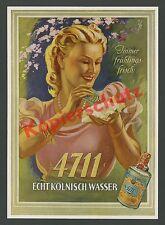 o. Farb-Reklame Otto Ottler 4711 Dame Eleganz Frühling Blüten Art Deco Köln 1939