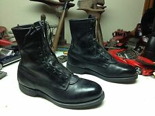 VINTAGE 1990 ADDISON USA BLACK LEATHER LACE UP ZIP UP STEEL TOE FLIGHT BOOTS 8D