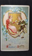 Vintage Valentine Post Card Victorian Couple Gold Gilt Series 1389 Intl Art Co