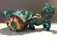 MAJOLICA ITALIAN ART / POTTERY, Donkey With Cart Planter ~ ITALY, M.M.Co.