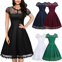 Women Elegant Floral Lace Bridesmaid Formal Swing Dresses Vintage Cocktail Party