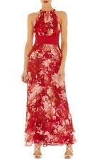 KAREN MILLEN SIGNATURE SILK RED & PINK FLORAL SILK MAXI HALTER-NECK DRESS 12