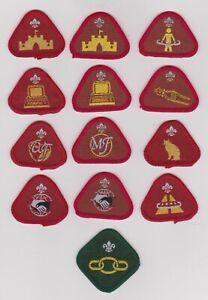 UK Cub Scout twelve obsolete Proficiency badges, incl. varieties, + Link badge