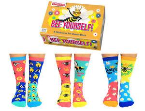 UNITED ODDSOCKS BEE YOURSELF QUEEN BEE BUMBLE BEE LADIES SOCKS UK 4 - 8 GIFT