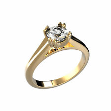 1 CTW Round Cut Solitaire Diamond Engagement Ring GIA Certified 18k Yellow Gold