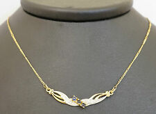"9ct Yellow Gold Sapphire & Diamond Ribbon Necklace Micro Figaro Link 16"" Inch"