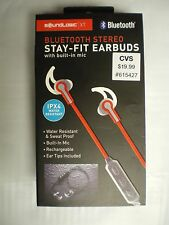 Sound Logic Bluetooth Stereo Stay-Fit Earbuds, Red, FAST FREE SHIPPING!!