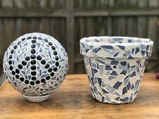 Lawn ornament mosaic peace sign gazing ball with matching mosaic planter