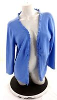 TALBOTS WOMEN'S BLUE RUCHED RUFFLED OPEN FRONT CARDIGAN SWEATER SIZE XL