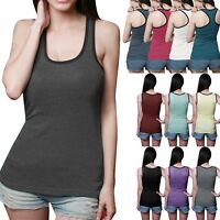 Womens Tank Top Cotton Light Weight Ribbed A-Shirt Basic Workout Two Tone