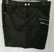 LIPSY LONDON Size 16 Black Silver Glitter Shimmer Stretchy Skirt Zip Pockets NEW