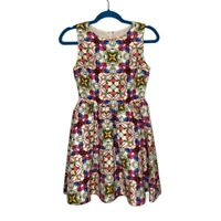 Modcloth Fervour Stained Glass Kaleidoscope Fit And Flare Dress XS Sleeveless