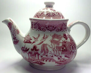 Large Churchill England vintage style Pink Willow tea pot 5 cup, NEW