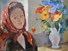 Portrait de femme Tableau XX° Foulard Bouquet de Fleurs 26 x 35 cms