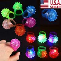 100pcs Light-Up Jelly Bumpy Rings Flashing LED Bubble Rave Party Color Favors US