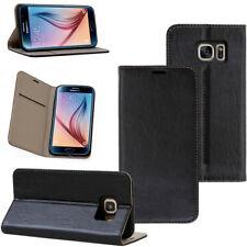 Leder Cover für Samsung Galaxy und Huawei Smartphone Handy Schutzhülle schwarz