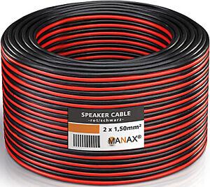 Câble Enceinte Haut Parleur Sono Rouge et Noir 2 x1.5 mm² Souple Rouleau de 50m