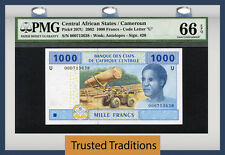 TT PK 207U 2002 CENTRAL AFRICAN STATES CAMEROUN 1000 FRANCS PMG 66 EPQ GEM UNC