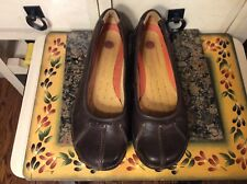 WOMENS CLARKS STRUTURED COMFORT BROWN LEATHER slip -on SHOES SIZE 7.5M,euc