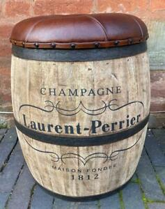 Laurent Perrier Champagne Barrel Stool - Leather Seat - Storage - Man Cave