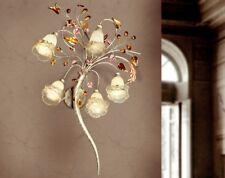 Applique classico 5 luci in metallo avorio fiorentino e vetri coll. Dese 4020-5A