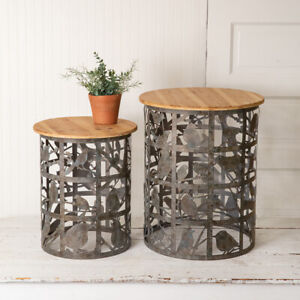 Side Tables with Bird design in Distressed Metal and wood