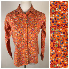 Wrangler Ls Western Style Floral Cotton Button Front Shirt M Orange Red Blue