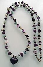 """Amethyst & Chinese Fluorite Heart Handmade 26"""" Necklace 925 Sterling Silver"""