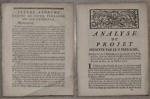Rhône LYON Analyse du Projet présenté par le Sr PERRACHE 1770 + Lettre Anonyme