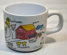 VTG Anacapa 1987 Melamine Ware Children's Cup Colorful Primary Cars Farm ABCs