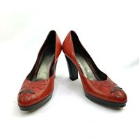 ISABELLA FIORE Women's Size 7 M Red Leather Embroidered Heels ITALY